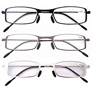 Eyekepper 3 Pcs Mix Unique Lightweight Stainless Steel Frame Cheap Reading Glasses For Men and Women +3.0
