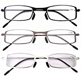 Eyekepper 3 Pcs Mix Unique Lightweight Stainless Steel Frame Cheap Reading Glasses For Men and Women +1.5