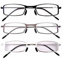 Eyekepper 3 Pcs Mix Unique Lightweight Stainless Steel Frame Cheap Reading Glasses For Men and Women +4.0