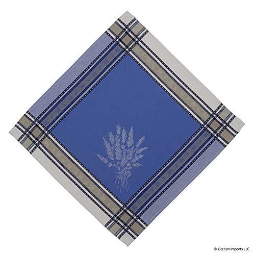 (Occitan Imports Senanque Ecru/Bleu French Jacquard Napkin, 20 x 20)