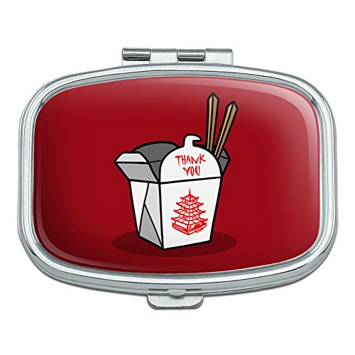 Chinese Food Takeout Box with Chopsticks Rectangle Pill Case Trinket Gift Box