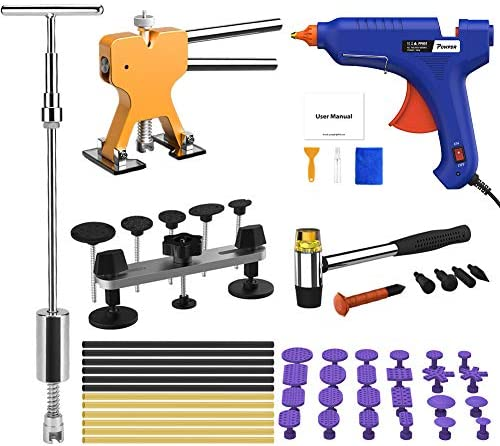 Powpdr 58pcs Auto Paintless Dent Repair Kit Car Dent Removal Kit Golden Dent Lifter Bridge Dent Puller Kit 2 In 1 Slide Hammer T Bar Tools For Home Diy Door Ding Hail Damage Dent Remover Fix Dent Removal Tools Amazon Canada