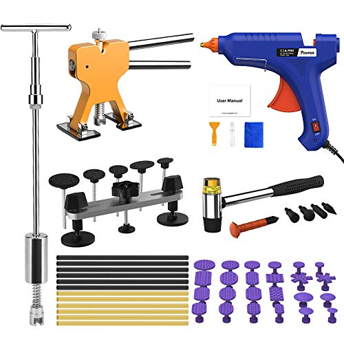 POWPDR 58Pcs Auto Paintless Dent Repair Kit Car Dent Removal Kit, Golden Dent Lifter, Bridge Dent Puller Kit, 2-in-1 Slide Hammer T-Bar Tools for Home DIY Door Ding Hail Damage Dent Remover Fix