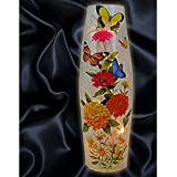 """Stony Creek 12"""" Tall Lighted Oval Glass Vase Folk-Art Summer Blooms and Butterflys SCB7209-A"""