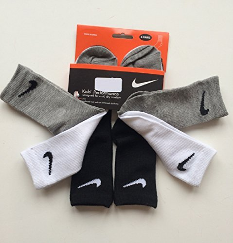 Nike Boys Performance Crew Socks Six Pack Black 6-7