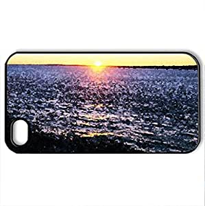 glorious lighthouse sunset in winter - Case Cover for iPhone 4 and 4s (Lighthouses Series, Watercolor style, Black)