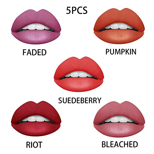 Ownest 5 Colors Matte Liquid Lipstick Waterproof Long Lasting Pigmented Lip Gloss Set5PCS/Set