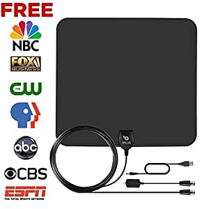 Amplified HDTV Antenna-1PLUS Super Thin 50miles with Detachable Amplifier Power Supply-13.2ft Coax Cable