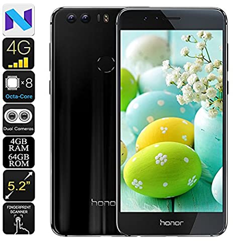 Huawei Honor 8 Android Phone - Dual-IMEI, Android 7.0, 1080p Display, 4GB RAM, Octa-Core CPU, 12MP Dual-Camera (Octacore Huawei)