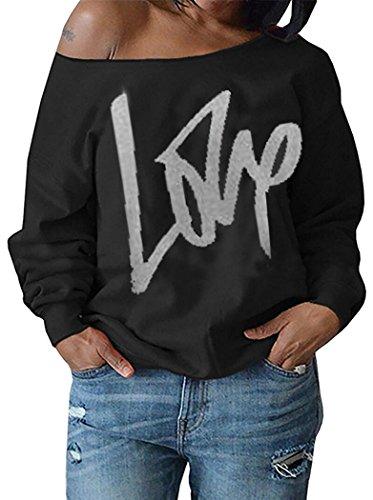 Womens Off Shoulder Pullover Sweatshirt Love Letter Printed Medium Black