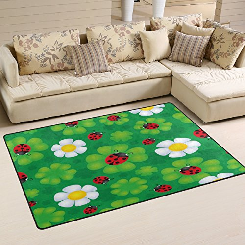 WOZO Beautiful Ladybug Clover Floral Area Rug Rugs Non-Slip Floor Mat Doormats Living Room Bedroom 31 x 20 inches