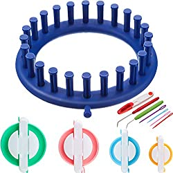 12 Pieces Knitting Tools Set, Including 4 Pieces Pom Pom Maker in 4 Different Sizes Fluff Ball Weaver for DIY Wool Craft, Round Knitting Looms, 6 Pieces Hook Needles and Thread Cutter Scissors