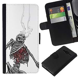 KLONGSHOP // Tirón de la caja Cartera de cuero con ranuras para tarjetas - Cráneo Esqueleto Blanco Negro de Humo - Samsung Galaxy Core Prime //