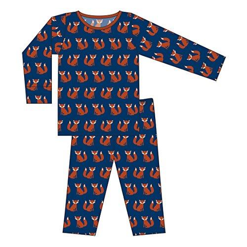 Kickee Pants Little Boys Custom Print Long Sleeve Pajama Set, Navy Fox, Boys 6 Years