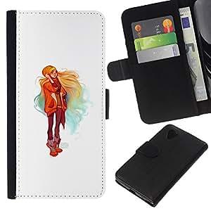 Protector de cuero de la PU de la cubierta del estilo de la carpeta del tirón BY RAYDREAMMM - LG Nexus 5 D820 D821 - Colorido estilo de la calle