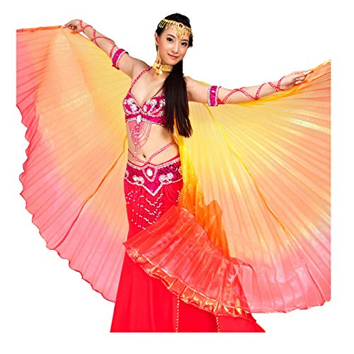 (Pilot-Trade Women's Egyptian Egypt New Belly Dance Costume Colorful Isis Wings (One Size, 3#Yellow-Orange-red))