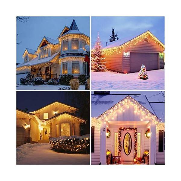 Luci Natale Esterno Cascata, BrizLabs 8.8M 360 LED Tenda Luminosa Catena Luminosa Interno Luci Stringa Decorazione Natalizie 8 Modalità con Telecomando per Casa Feste Giardino Finestra, Bianco Caldo 7 spesavip