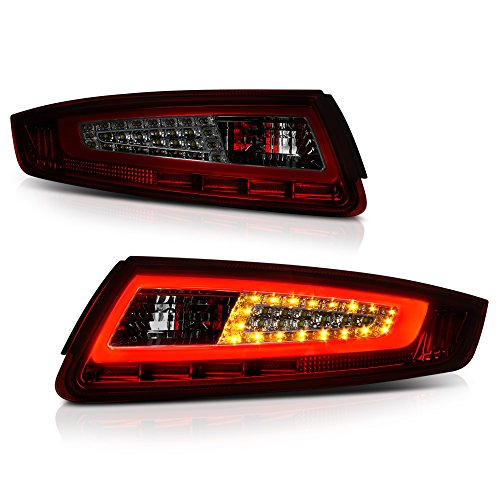 ([Sequential Turn Signal] VIPMOTOZ Neon Tube LED Tail Light Lamp Assembly For 2005-2008 Porsche 997-Series 911 Carrera - Smoke Red Lens, Driver and Passenger Side)