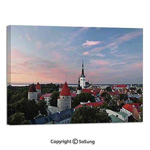 Canvas Prints Modern Art Framed Mural Sunset Sun Lights Coloring Clouds Over Old City Center of Tallinn Estonia Scenery Picture Wall Decorations for Living Room Bedroom Dining Room Bathroom 30x48inch