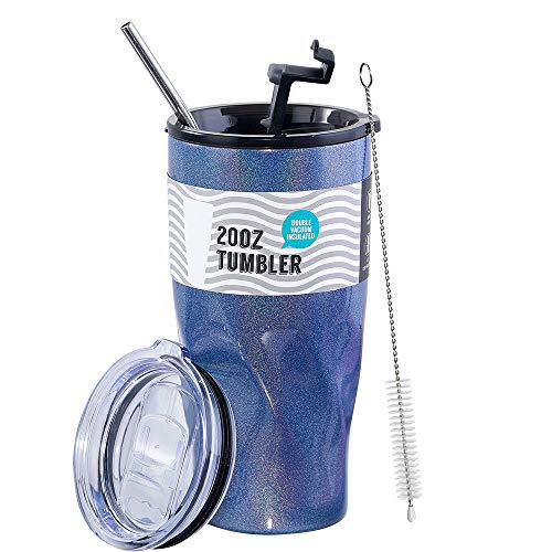 LUXEAR 20oz Glitter Tumbler Car Travel Mug with Straw & Leakproof Lid & Sliding Lid - 18/8 Stainless Steel Double Wall Vacuum Insulated Tumbler Cup Outdoor Water Bottle for Ice Hot Coffee Tea Beverage