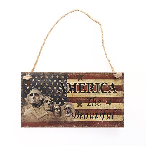 FRECI American Wooden Hanging Plaque 4th of July Hanging Sign Decoration for National Flag Day Holiday Decoration - -