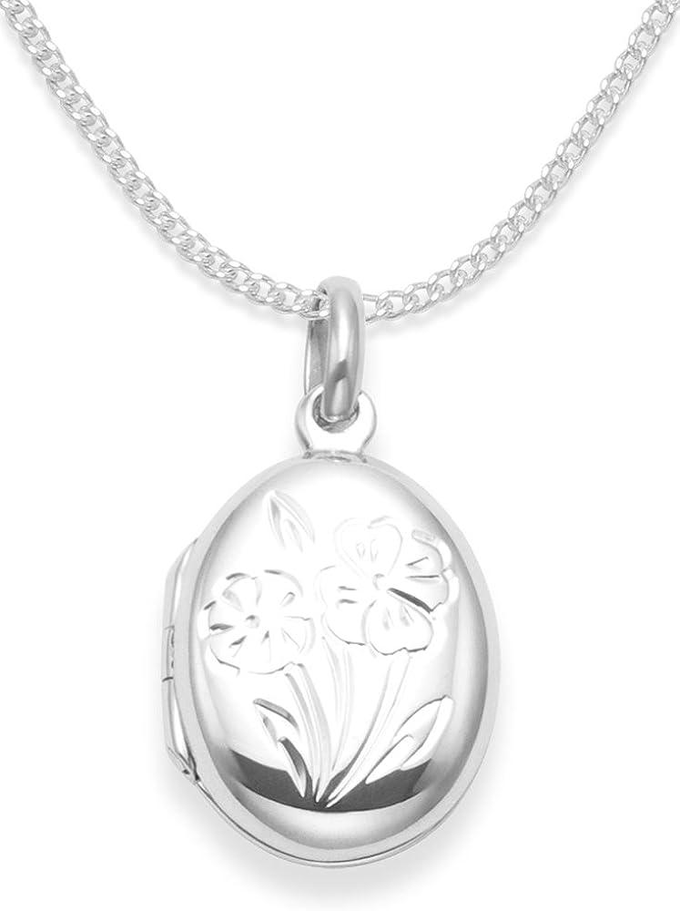 925 de plata de ley Collar con camafeo a presión para niños 38,1 cm plata de - apertura con camafeo con flores - Tamaño: 17 mm x 14 mm. Diseño de corazones caja de regalo