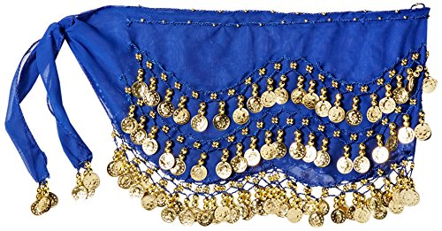 Hip Scarf Coin Wrap - Buy Home Chiffon Dangling Gold Coins Belly Dance Hip Skirt Scarf Wrap Belt (Royal Blue)