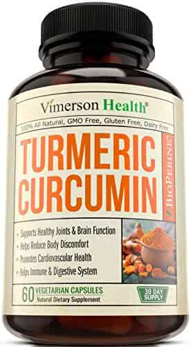 Turmeric Curcumin with Bioperine Joint Pain Relief - Anti-Inflammatory, Antioxidant Supplement with 10mg of Black Pepper for Better Absorption. Best 100% All Natural Non-Gmo Made in USA