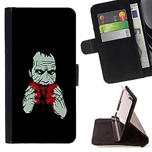 - Bloody Joker - - Prima caja de la PU billetera de cuero con ranuras para tarjetas, efectivo desmontable correa para l Funny HouseFOR LG OPTIMUS L90