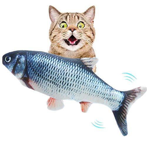 Mydee Katzenspielzeug Fisch Elektrisch USB Plüsch Fisch Kicker Katzenspielzeug mit Katzenminze für Katze und Kätzchen…