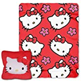 Hello Kitty,''Kitty Flowers'' 3D 14'' Square Pillow and Fleece Throw Blanket in Pocket Set, 40'' x 50''