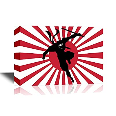 Canvas Wall Art - Ninja Dashing from Japanese Flag Like Background - Gallery Wrap Modern Home Art   Ready to Hang - 12x18 inches