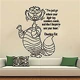 Cheshire Cat Stickers Wall Decals Quote Alice in Wonderland Decal Vinyl Nursery Bedroom Home Decor Interior Art Murals MN902