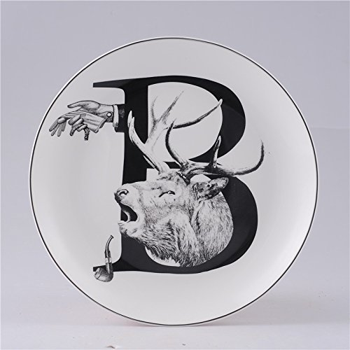 Lannmart Nordic Style Ceramic Decorative Hanging Plates Animal English Letters Wall Hanging Living Room TV Wall Decoration Plate