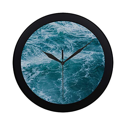 THKDSC Modern Simple Abstract Design Blue Waves Wall Clock Indoor Movement Wall Clcok for Office,Bathroom,livingroom Decorative 9.65 Inch
