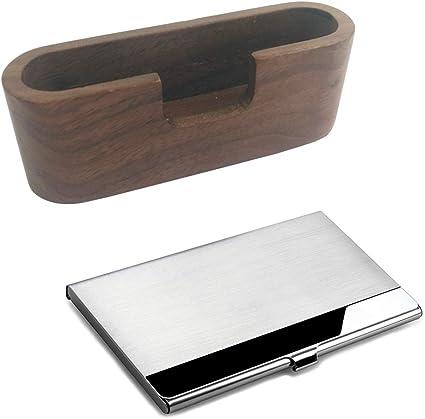 Porta tarjetas de visita de madera Y caja de tarjeta de visita de ...