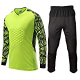 Shinestone Adult Men's Goalkeeper Armor Padded Shirt Pants with Sponge Chest Protector for Football Soccer(025-Green, Large)