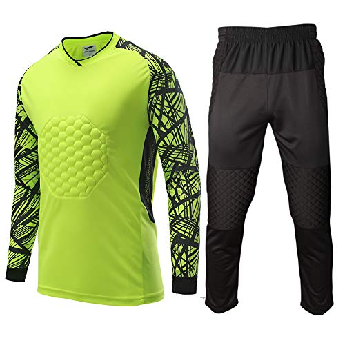 Shinestone Youth Adult Men's Goalkeeper Armor BodyShield Padded Shirt Pants with Sponge Chest Protector for Football Soccer Baseball (Green, Large) ()