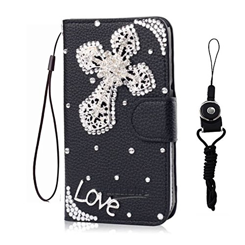 icy2701376 for ZTE Grand X Max 2 / Max Duo LTE / ZMax Pro/Carry Z981/Blade X Max Z983 case,Bling PU Leather Filo slots Wallet Flip Protective Case Cover (Silver Love Cross) (Best Zmax Pro Case)