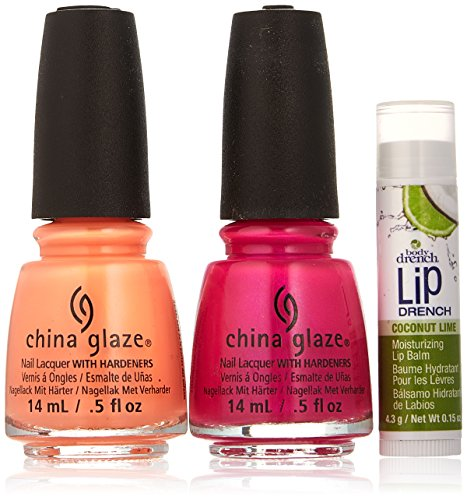 - China Glaze Summer Favorites Nail Polish Kit with Coconut Lime Lip Balm, Double Digits