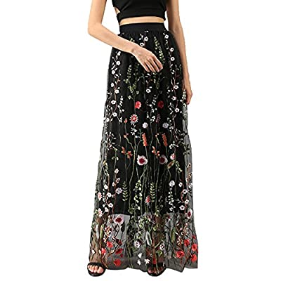 Chicwish Women's Floral Embroidery Flower Maxi Black Mesh Tulle Tutu Skirt