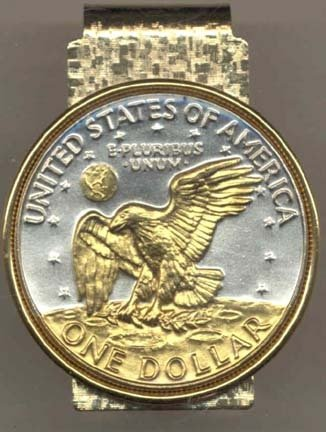 Reverse Eisenhower Dollar (1971 - 1978) Two Tone U.S. Coin Hinged Money Clip Coin Hinged Money Clips