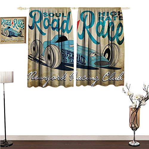 ParadiseDecor Window Curtains Cars,New York Racing Club Race Car from Twenties Road Race Team Old School Cool Design,Aqua Sand Brown Decorative Curtains for Living Room W55 x -