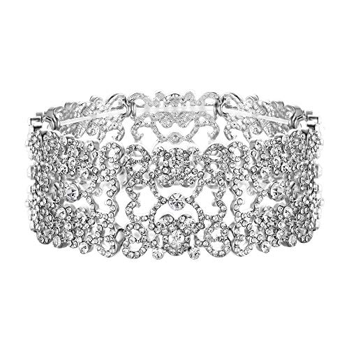 Love Crystal Austrian - EVER FAITH Women's Austrian Crystal Love Heart Art Deco Bride Stretch Bracelet Clear Silver-Tone
