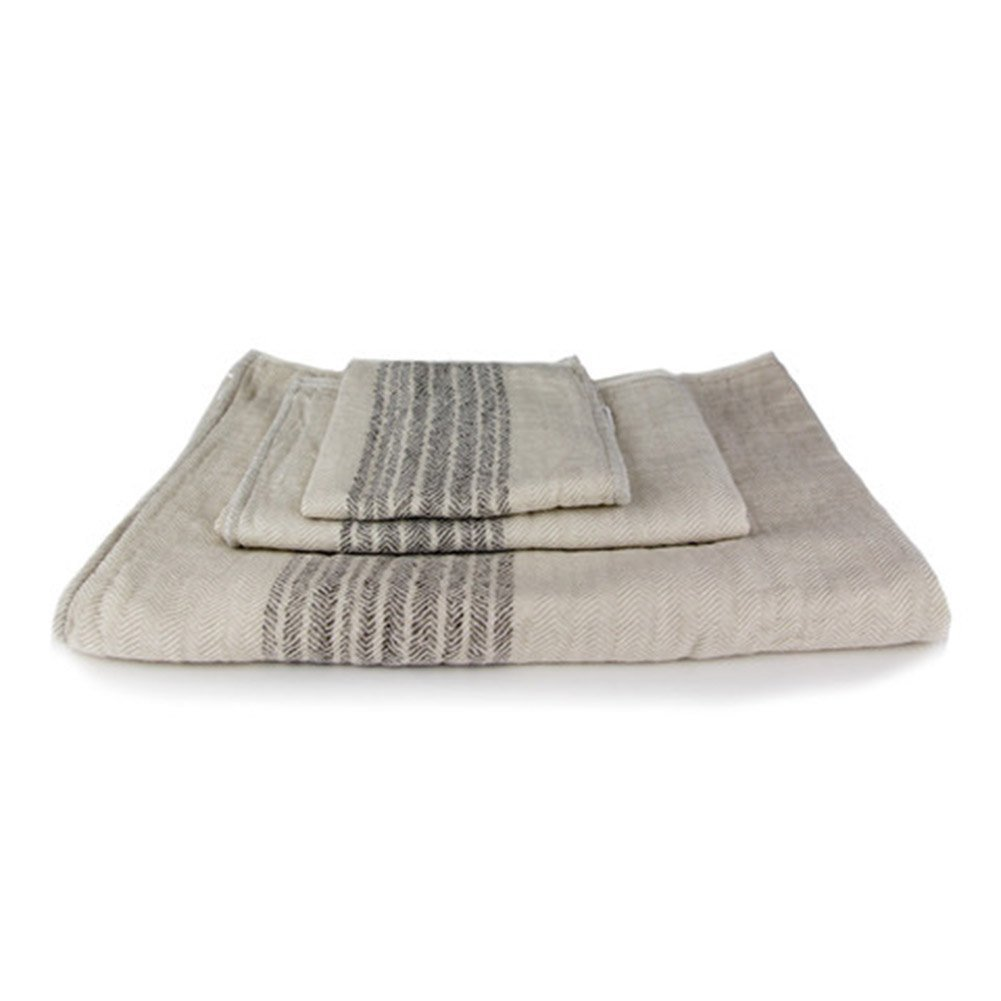 Kontex Organic Cotton Towels From Imabari, Japan - Bath Towel, Hand Towel & Washcloth, Beige/Brown (Set of 3) by Kontex