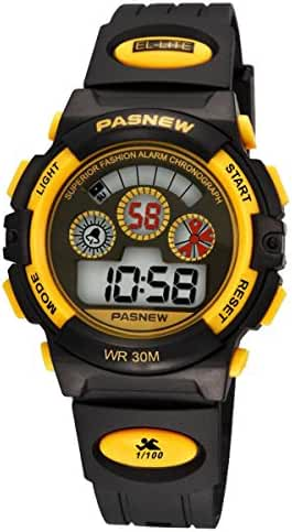Kid Watch Multi Function Digital LED Sport 50M Waterproof Watches for Boy (Yellow)