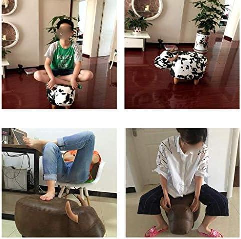 YUMUO Changement de Chaussures Tabouret Pouf rembourré Pouf Pouf Pouf Pouf en Plastique antidérapant Changement de Tabouret Forme de Vache Medium (Couleur: Blanc)
