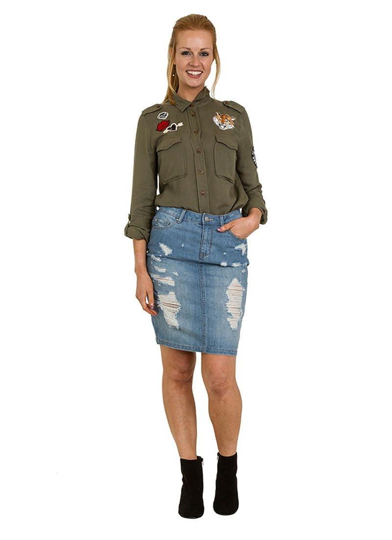 7227309d46 Knee-Length Denim Skirt Destroyed Denim Jean Skirt Blue at Amazon Women's  Clothing store: