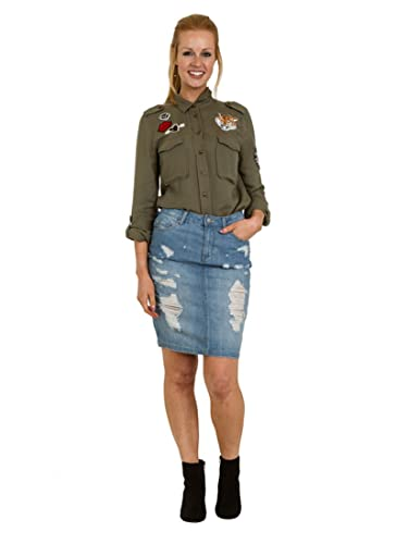 Falda Vaquera Midi - detalle de abrasión falda midi de mezclilla BRITNEY