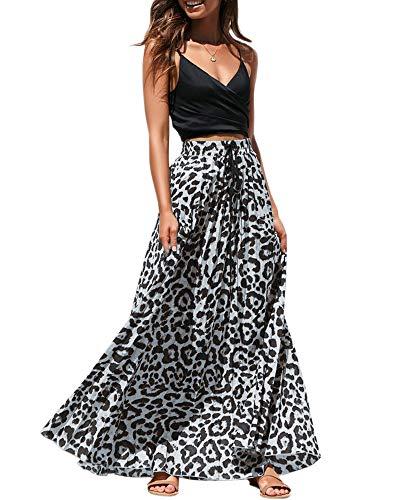 Womens Maxi Skirt Leopard Print Chiffon Beach Pleated High Waisted A-Line Long Skirts Grey